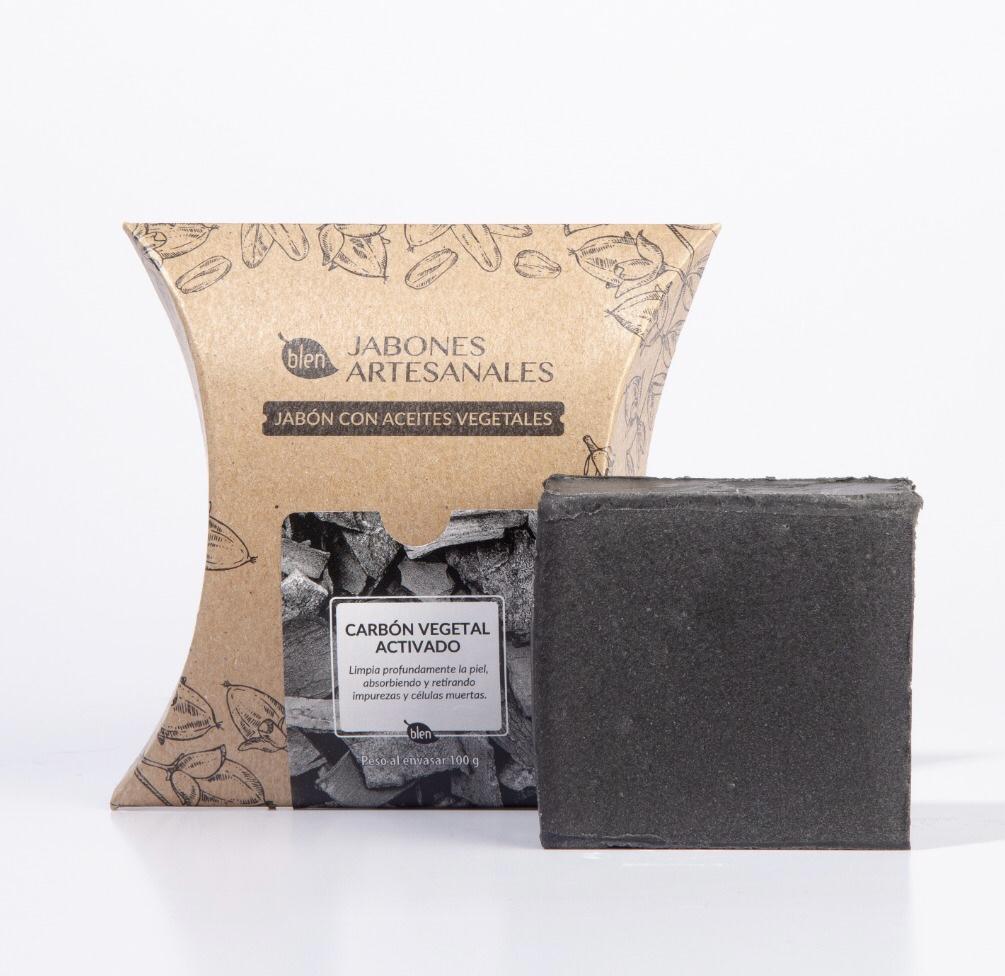 Jabón artesanal de carbón activado piel grasa